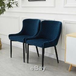2x Blue Retro Chaise À Dîner Velvet Chaises Salle À Manger Cuisine Restauraunt