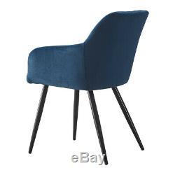 2x Blue Retro Repas Velvet Chaises Rembourrées Chaises Tub Seat Restaurant Métal