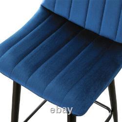 2x Blue Velvet Bar Tabourets Breakfast Stool Kitchen Pub Chaises Rembourrées 65cm Siège