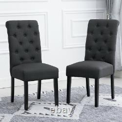 2x Bouton Gris Foncé Touffu High Back Dining Chairs Fabric Upholstered Kitchen