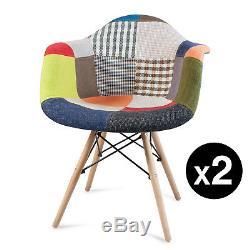 2x Chaises De Salle À Manger Tissu Patchwork Fauteuil Lounge Rétro Style Vintage Eiffel