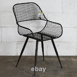 2x Chaises Métalliques Vintage Style Rustique Industriel Meubles Rétro Sièges Gris Acier