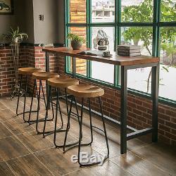 2x Industriel Vintage Retro Bois Massif Rustic Dining Cafe Petit Déjeuner Tabouret De Bar