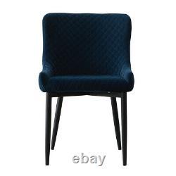 2x Retro Blue Velvet Dining Chairs Rembourrés Seat Office Chairs Restaurant Metal