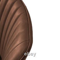 2x Retro Brown Faux Leather Pu Chaises À Manger Cuisine Salle À Manger Jambes En Métal