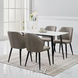 2x Rétro Brown / Grey Dining Chairs Faux Leather Kitchen Dining Room Metal Leg