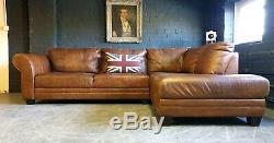 3003. Suite Chesterfield Vintage Avec Canapé D'angle Club En Cuir Brun Clair