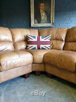 3024. Chesterfield Vintage Light Suite En Cuir D'angle Club Club 6 Places En Cuir Clair