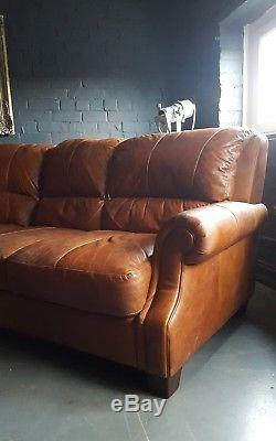 304 Chesterfield Vintage 5 Places Cuir Beige Club Marron Suite D'angle Courier Av
