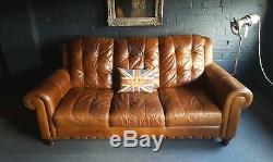 308 Chesterfield Cuir Vintage Et En Détresse Canapé 3 Places Beige Marron Courier Av