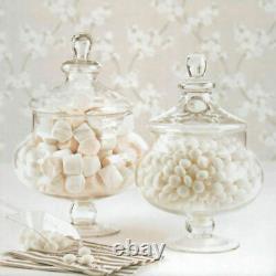30cm & 25cm Retro Decorative Glass LID Candy Food Storage Pot Glass Storage Jar