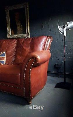 312 Chesterfield Canapé 3 Places En Cuir Vintage Et Vieilli Courier Av