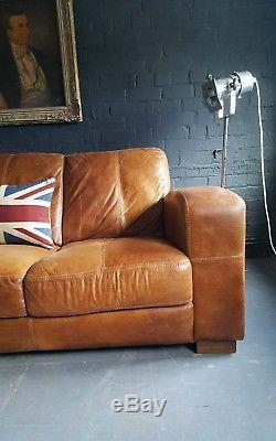 360 Chesterfield Canapé Vintage 3 Places En Cuir Vieilli Marron Foncé Courier Av