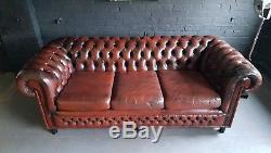 364 Charming Chesterfield Vintage Canapé 3 Places En Cuir Club Courier Av