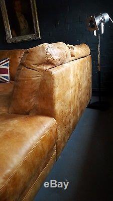 394. Chesterfield Vintage 3 Places Cuir Beige Club Marron Suite D'angle Courrier