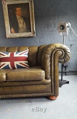 396. Chesterfield Vintage 2 Places En Cuir Club Green Courier Av