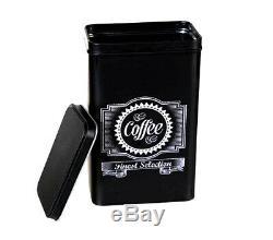 3pc Rétro Thé Café Sucre Cuisine Rangements Bidons Bocal Tin Set Canister Noir