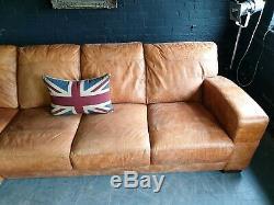 4022. Chesterfield Vintage Light Corner - Club Corner - Suite En Cuir Tan Clair