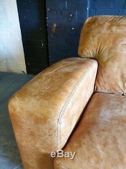 4023. Chesterfield Vintage Light Suite En Cuir D'angle Club Club 4 Places Couleur Pâle