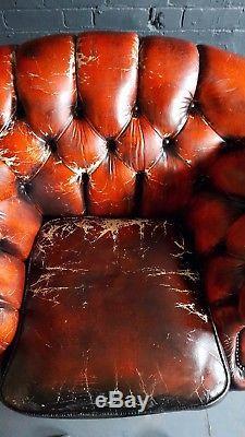 406 Chesterfield Vintage Fauteuil En Cuir Club Courier Av