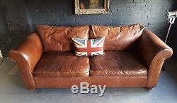 444 Laura Ashley Vintage 2 Places En Cuir Club Marron Chesterfield Courier Av
