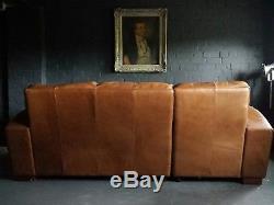 44 Chesterfield Vintage 3 Places Cuir Tan Club Marron Suite D'angle Courier Av