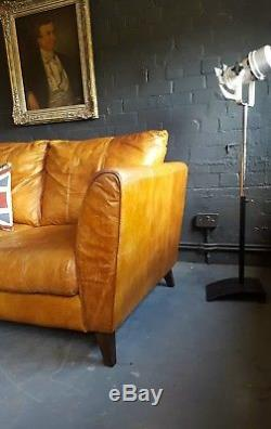 467. Chesterfield Vintage 3 Places Cuir Beige Club Marron Suite D'angle Courier Av