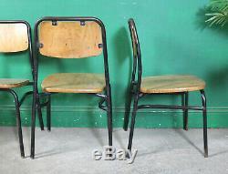 4 Chaises Empilables Vintage En Métal, Sièges En Bois Massif, Industriel, Tubulaires, Cuisine
