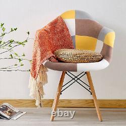 4 Pièces Patchwork Fabric Tub Chairs Lounge Rembourré Siège Salle À Manger Kitchen Set