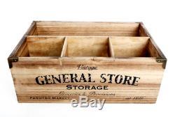 4 Vintage En Bois Compartiment Boîte De Rangement Lait Bouteille Crate Couverts Caddy Porte