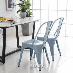 4 X Tolix Style Chaises À Manger En Métal Grey Industrial Kitchen Cafe Siège Empilable
