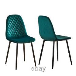 4pcs Argyle Velvet Dining Chairs Side Chair Metal Leg Fabric Salle À Manger Cuisine