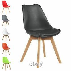 4x Chaises À Manger Tulip Kitchen Table Lounge Room Plastic Wood Retro Rembourré Siège