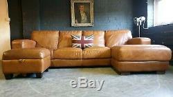 5003. Superbe Canapé D'angle Club Vintage En Cuir Beige 4 Places Suite Courier