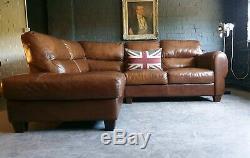5005. Canapé 3 Places Chesterfield Vintage Corner Brown En Cuir Marron Livraison Av