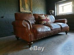 5008. Canapé Chesterfield Vintage Club 3 Places En Cuir Marron Livraison Disponible