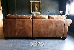 5013. Chesterfield Canapé D'angle Club Vintage 3 Places En Cuir Brun Clair Livraison Av