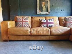 5015. Chesterfield Vintage Light Corner Club 4 Places En Cuir Beige Clair Livraison Av