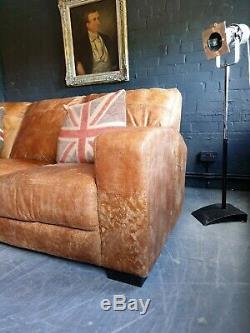 5016. Canapé D'angle 3 Places Chesterfield En Cuir Et Pouf Beige Livraison Gratuite