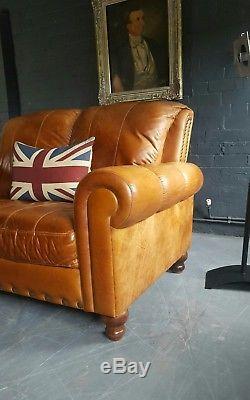 576 Chesterfield Brown Vintage 2 Places En Cuir Club Courier Av