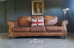 593. Chesterfield Vintage Canapé 3 Places Antique Marron En Cuir Courier Av