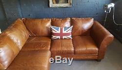 606 Chesterfield Vintage 3 Places Cuir Beige Club Marron Suite D'angle Courier Av