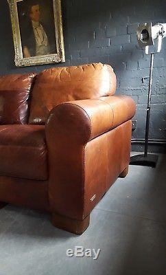 623. Grand Canapé Chesterfield Vintage En Cuir À 4 Places, Brun