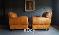 64 Superbe Paire De Fauteuils Chesterfield En Cuir Marron Club Vintage Cour