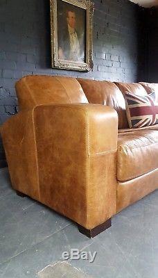651 Chesterfield Vintage Beige 4 Places Cuir Club Brun Corner Suite Courrier Courrier Av