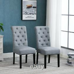 6pcs Grey Button Tufted High Back Dining Chairs Fabric Upholstered Room Kitchen