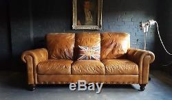 78 Chesterfield Cuir Vintage Et Vieilli Canapé 3 Places Tan Brown Courier Av