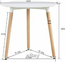 80cm Ronde Table À Manger Blanc, 4 Chaises Capitonnées Tulipe Gris Set De Cuisine Café