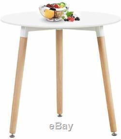 80cm Ronde Table À Manger Blanc, 4 Chaises Capitonnées Tulipe Gris Set De Cuisine Café Royaume-uni