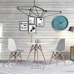 80cm Salle À Manger Table Ronde Et 2/4 Chaises Set Pieds En Bois En Plastique Gris Bureau D'étude